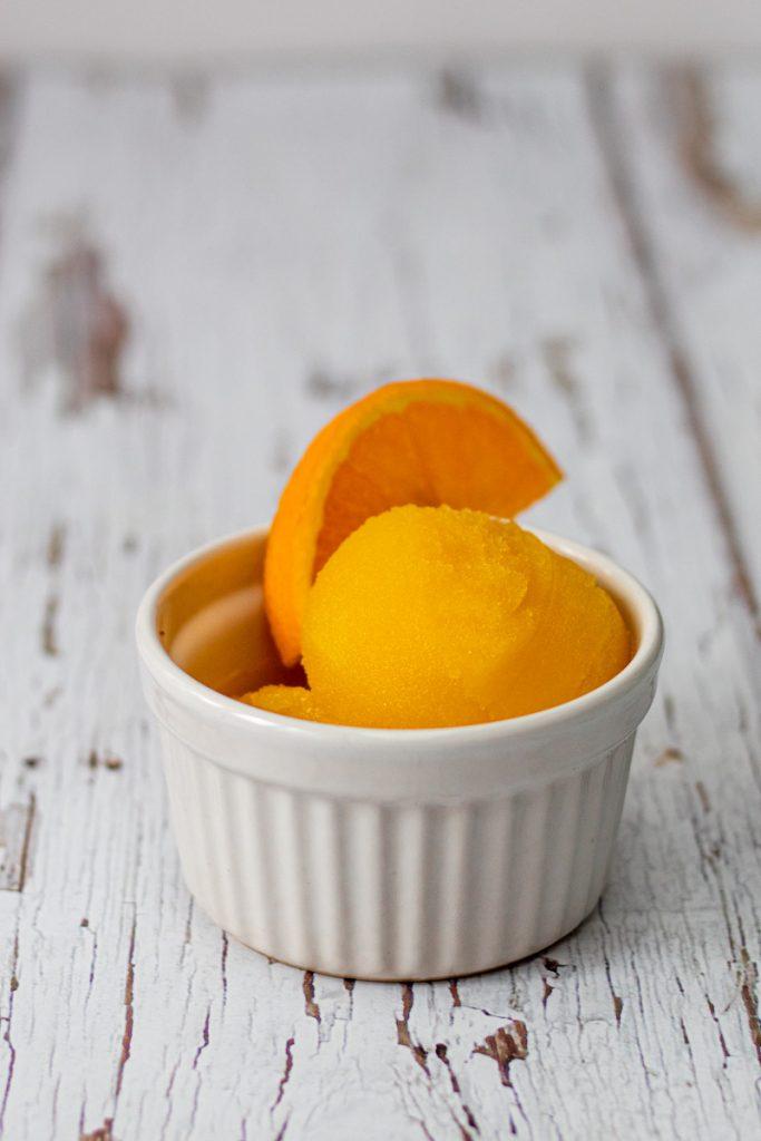 orange and ginger sorbet in a ramekin