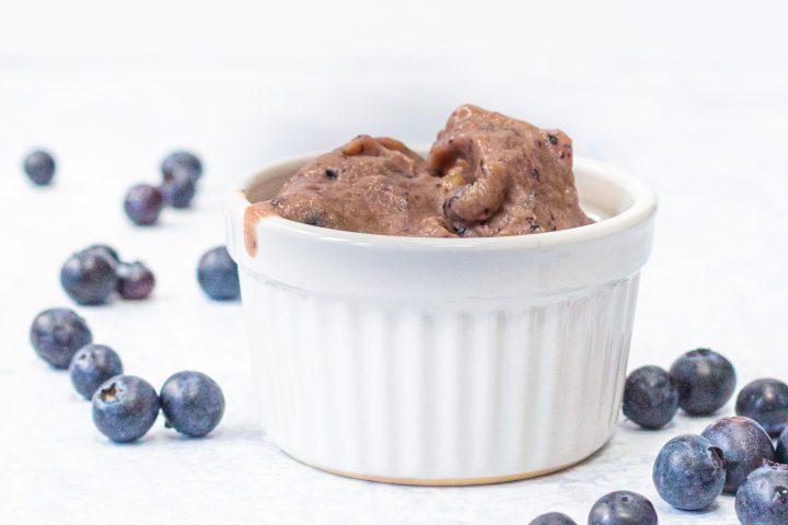 bowl of blueberry and banana nice cream