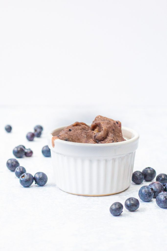 blueberry and banana nice cream in a bowl
