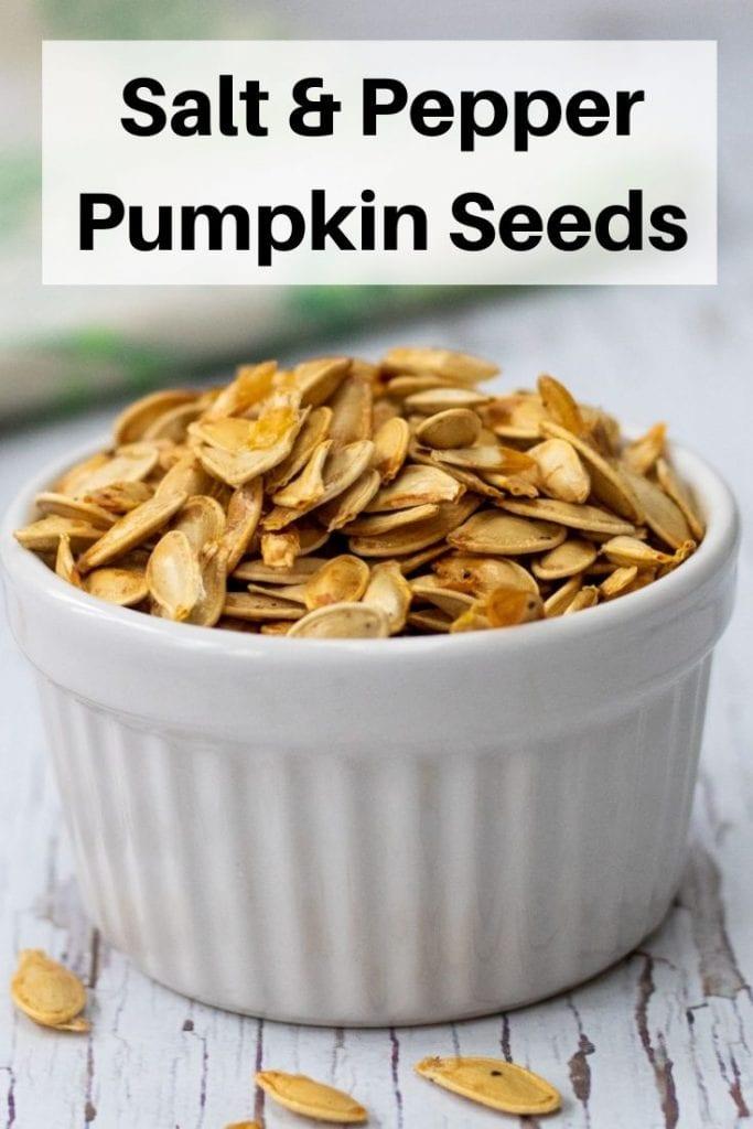 Salt and pepper roasted pumpkin seeds pin image