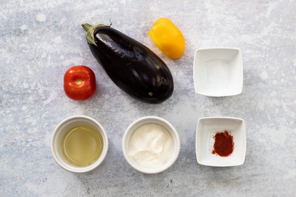 Ingredient for aubergines in yogurt
