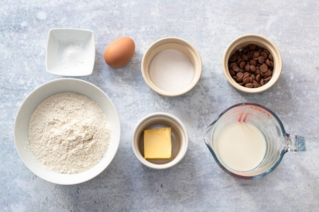 Ingredients for chocolate chip scones