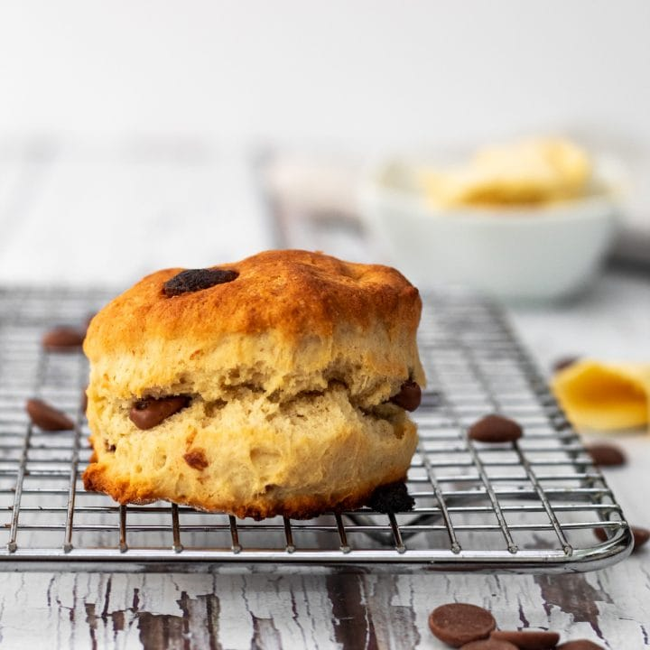 Chocolate chip scone on a cooling rack