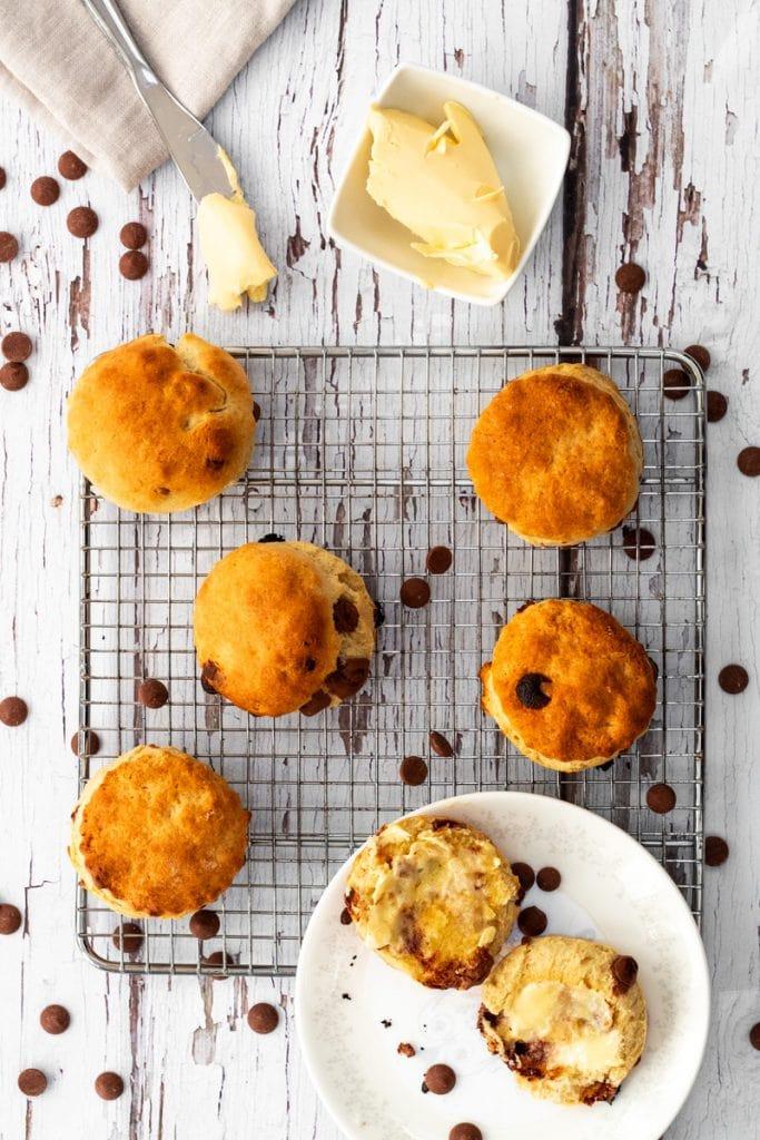 flatlay of chocolate chip scones