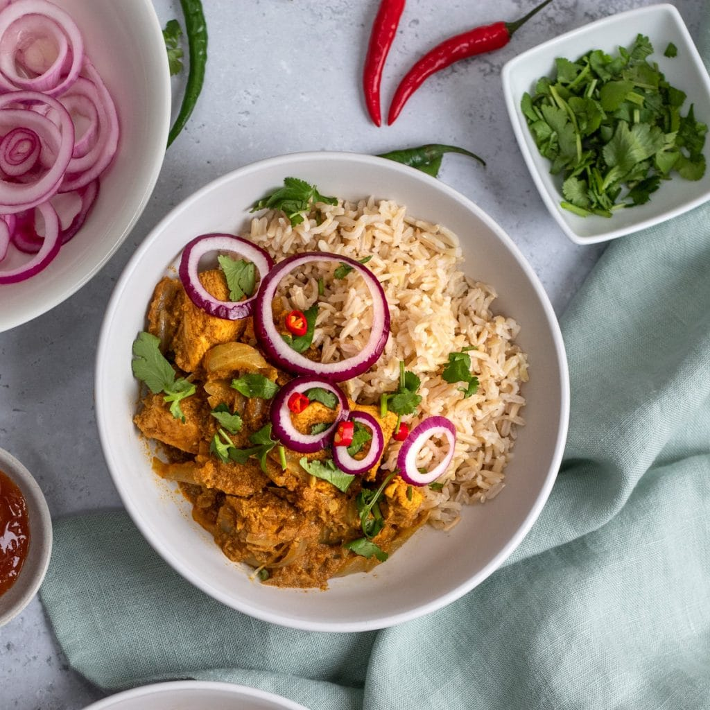 Chicken dopiaza with rice