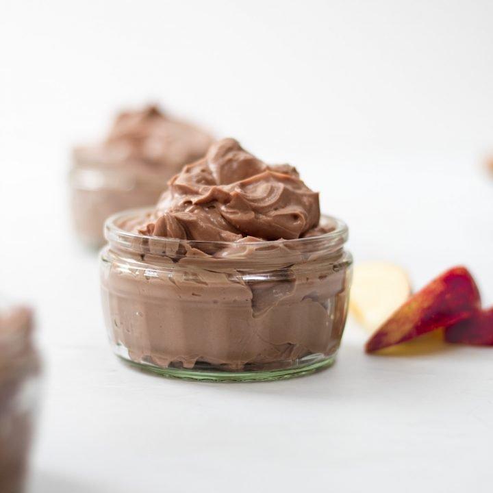 Ramekin of chocolate cheesecake dip