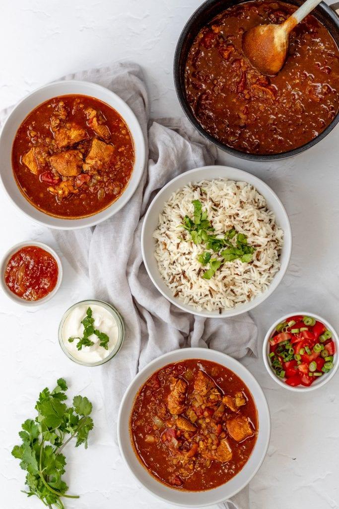 Flatlay of chicken dhansak curry