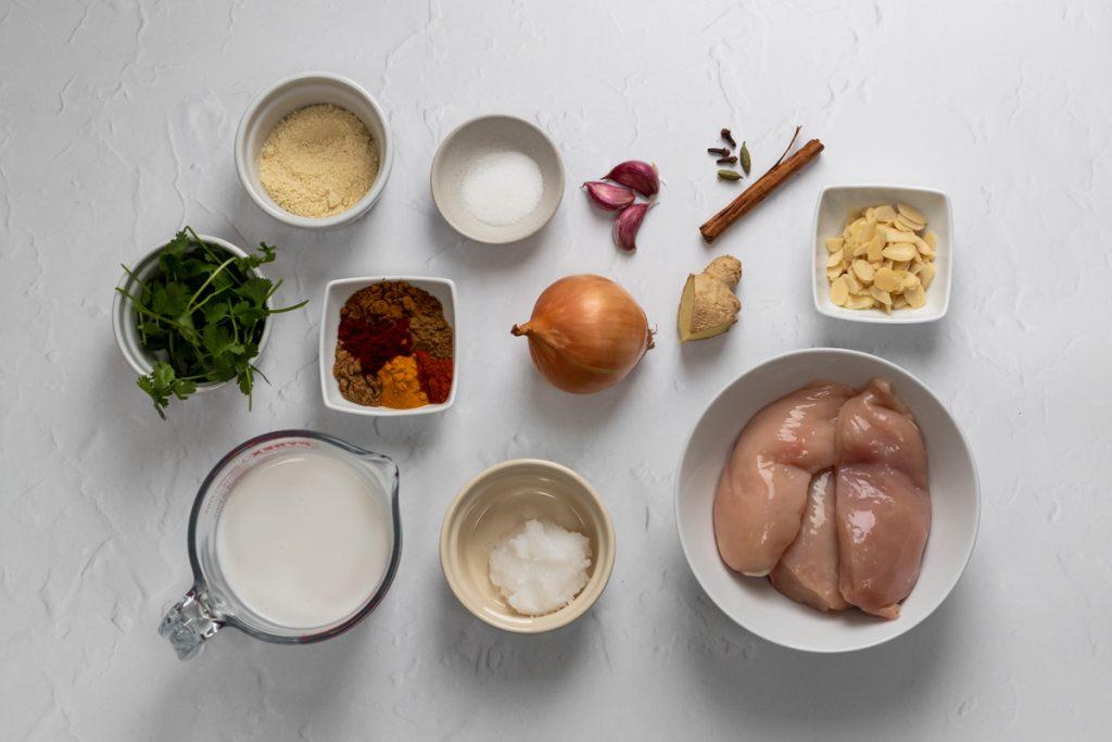 Ingredients for chicken korma