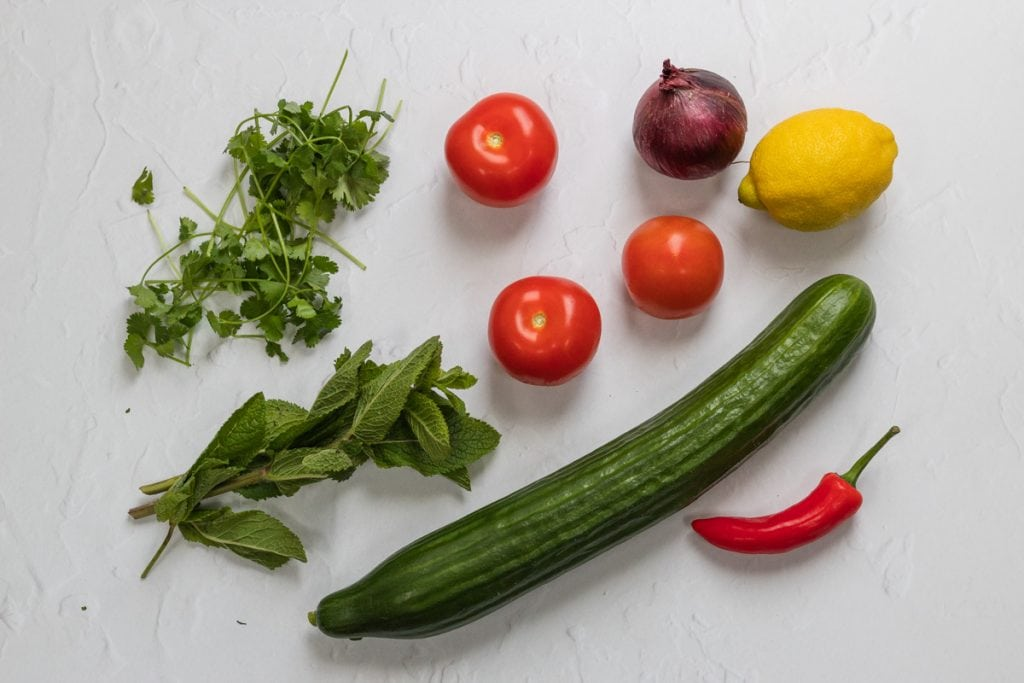 Ingredients for kachumber salad