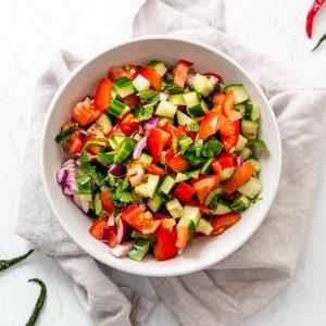 bowl of Indian kachumber salad