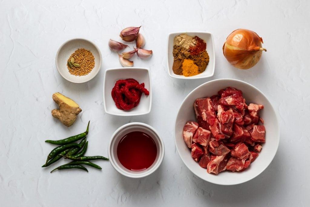 Ingredients for lamb vindaloo
