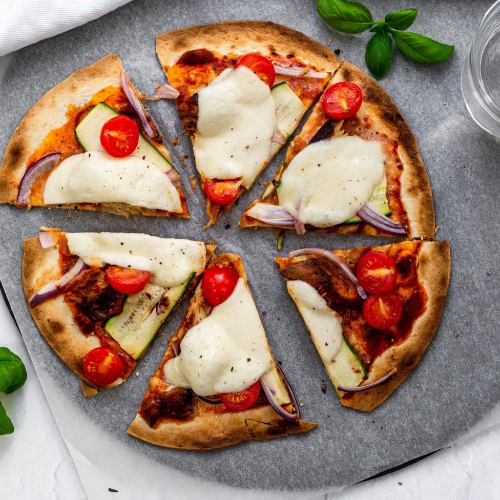 tinned mackerel flatbread pizza cut into slices