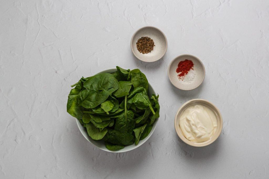 Ingredients for spinach raita