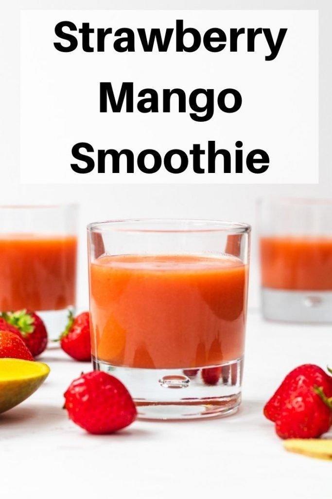 strawberry mango smoothie pin image