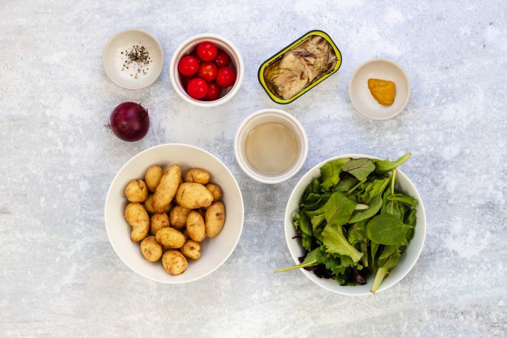 Ingredients for tinned mackerel potato salad