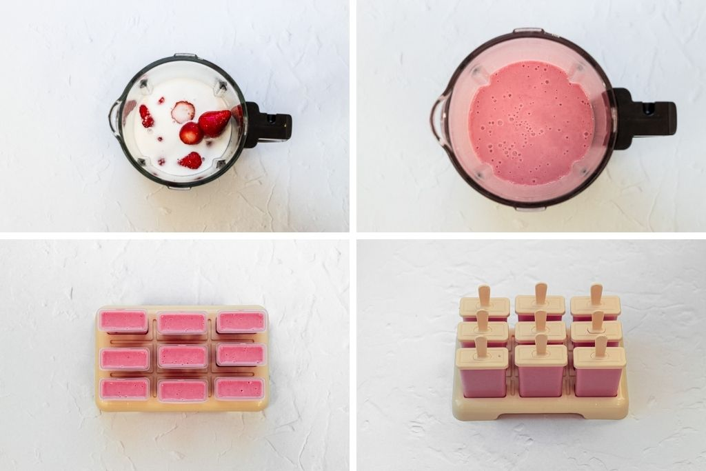 step by step iimages for strawberry ice lollies