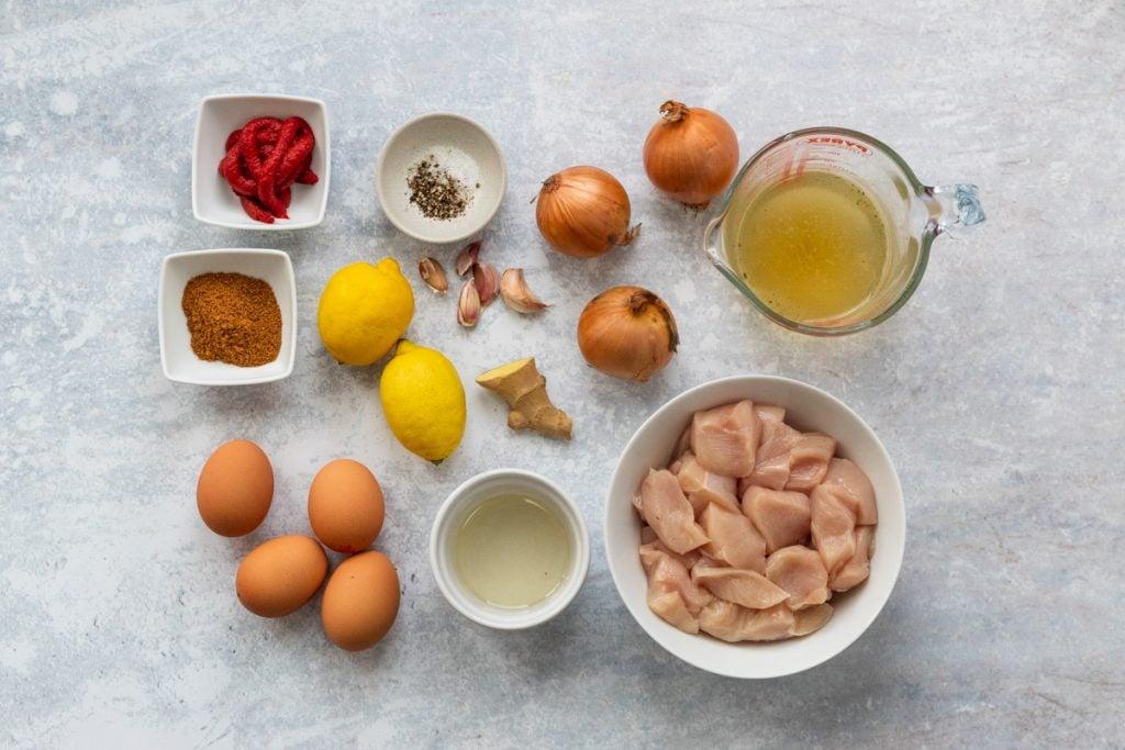 Ingredients for Ethiopian chicken stew