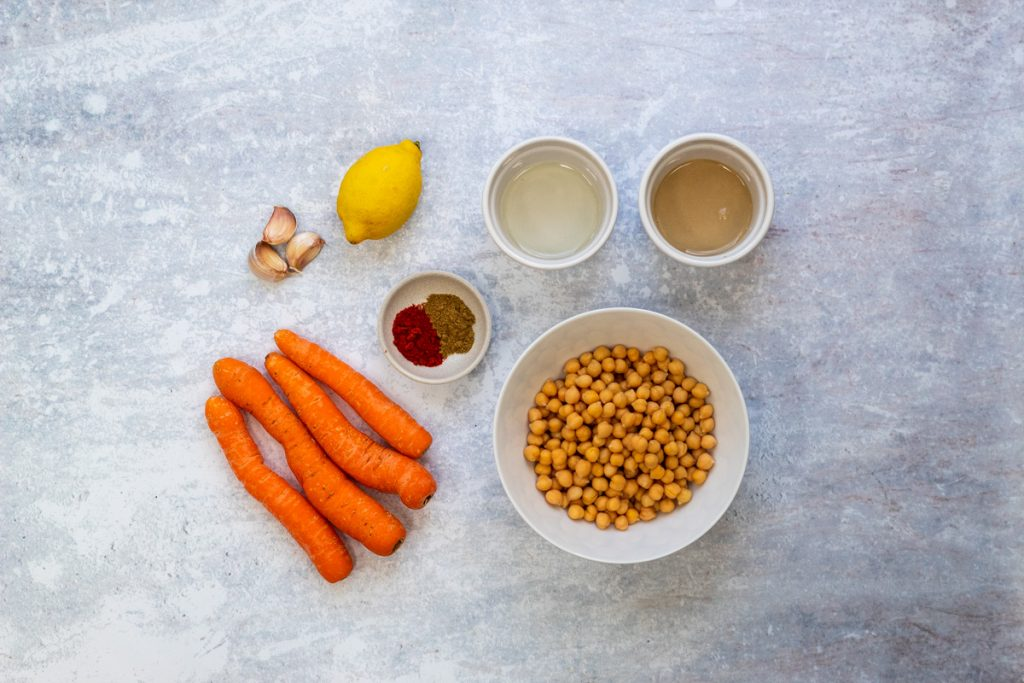 Ingredients for roasted carrot hummus