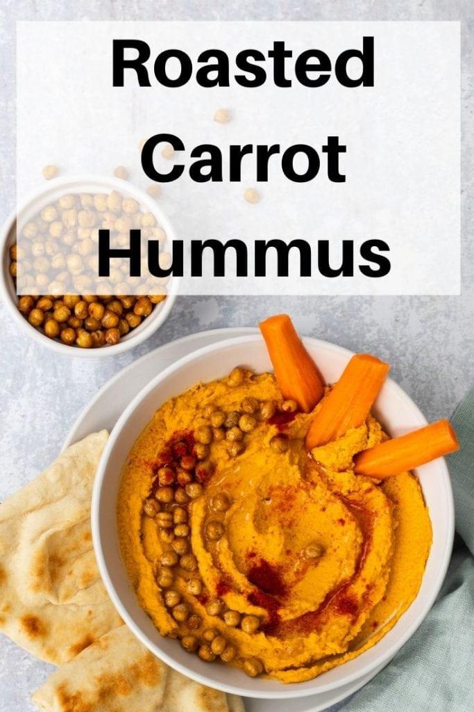 Roasted carrot hummus pin image