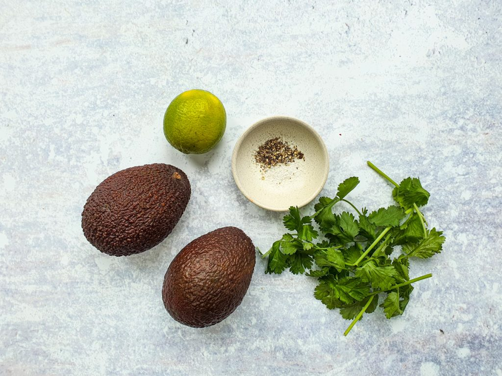 Ingredients for classic guacamole
