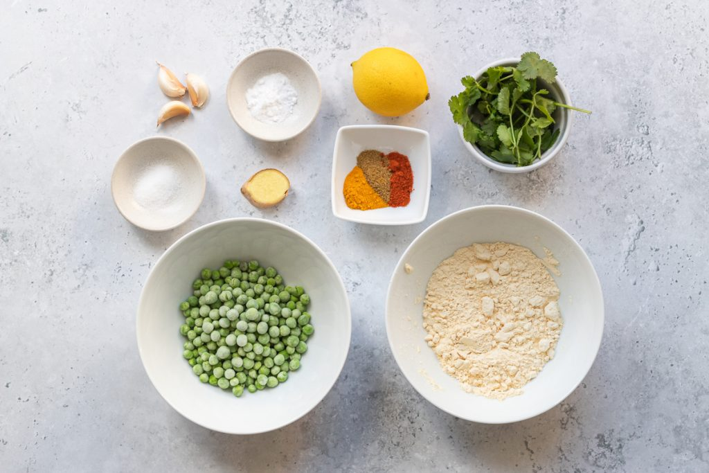 Ingredients for spicy pea pakoras
