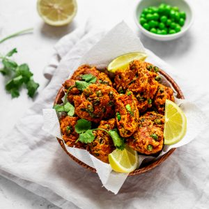 Bowl of spicy pea pakoras
