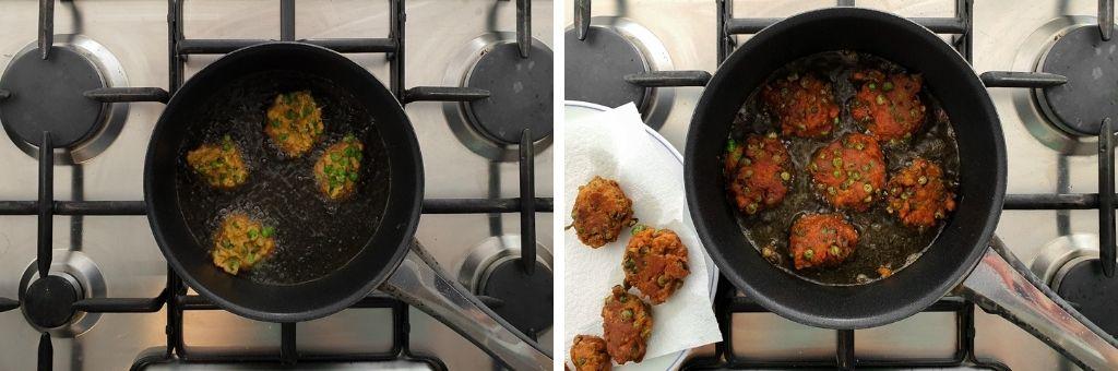 cooking the pea pakoras