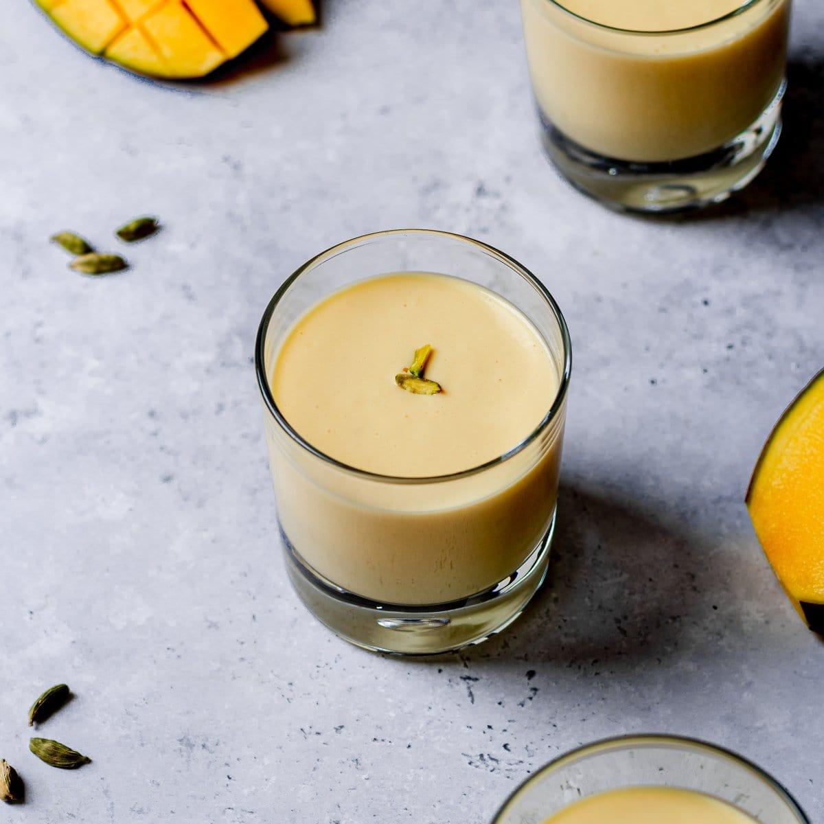 Glass of mango lassi